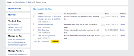 Quikr Replies to Ads