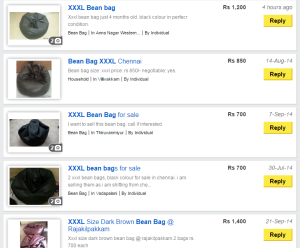 Items Listing for Beanbags